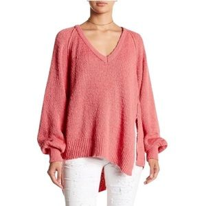 Free People West Coast V-Neck Asymmetrical Sweater